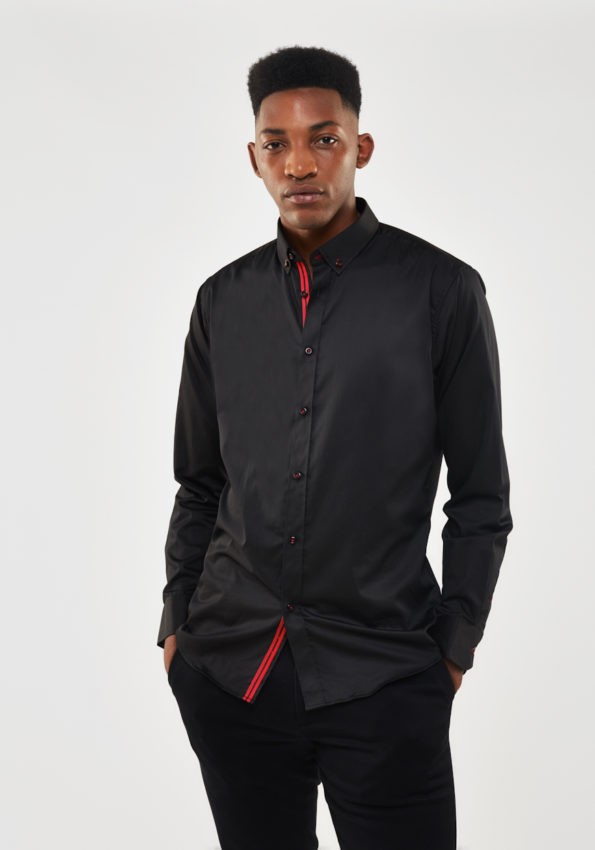 Black Satin Slim Fit with Red Contrast