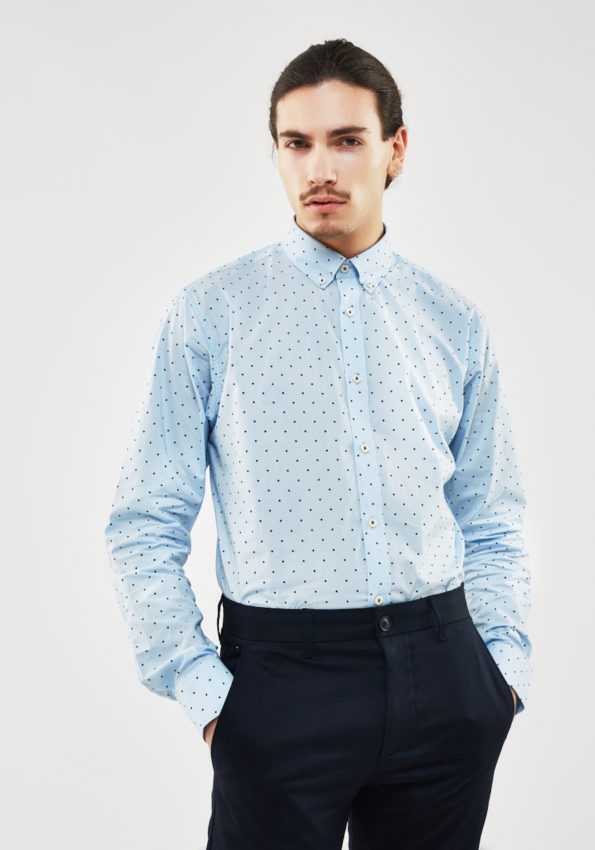 Blue Slim Fit with Polka Dot Print