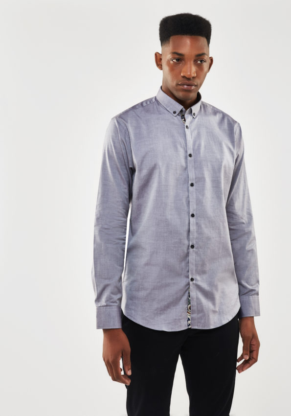 Grey Chambray Slim Fit with Printed Contrast