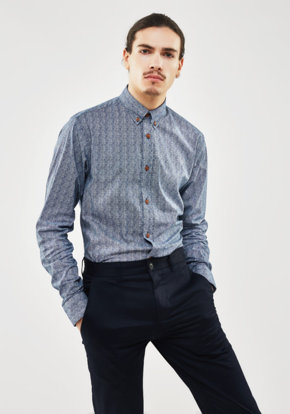 Blue Button Down Print with Tobacco Contrast Buttons