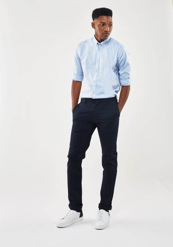 Sky Blue Chambray Slim Fit with Contrast Tape
