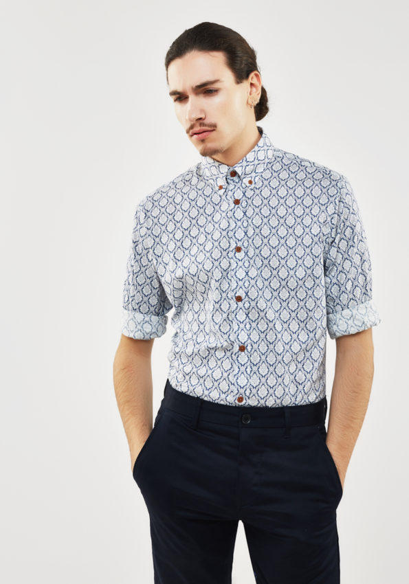 Blue Printed Slim Fit with Tobacco Contrast Buttons