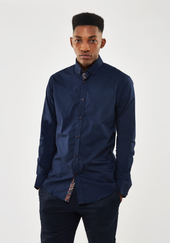 Navy Slim Fit with Printed Contrast
