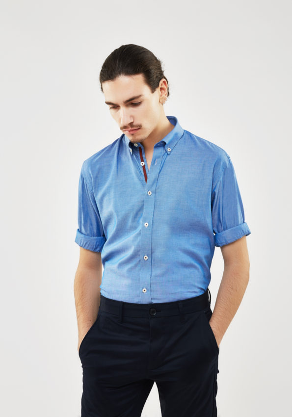 Blue Chambray Slim Fit with Brown Contrast Tape