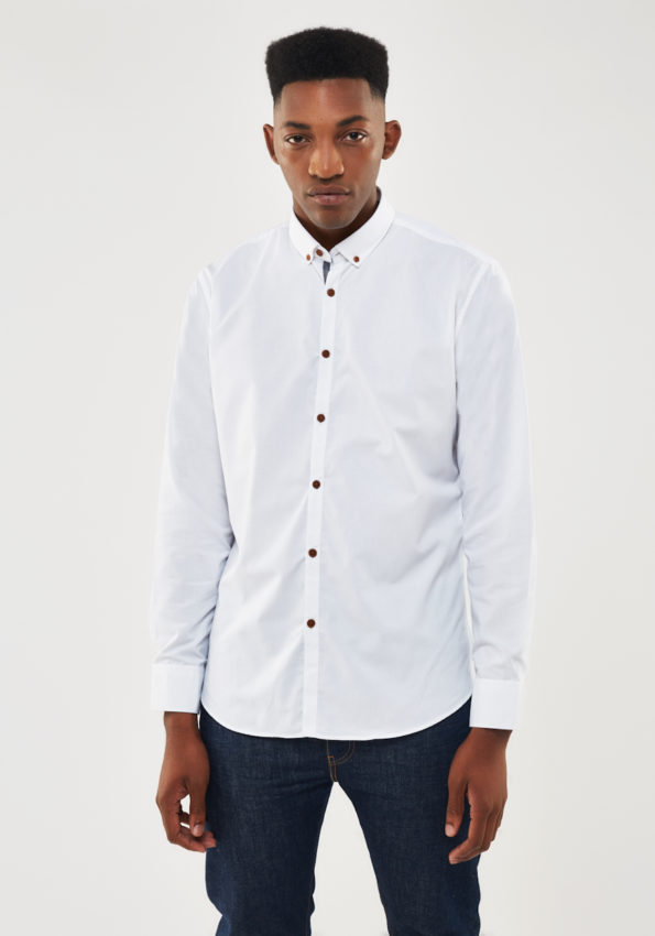 White Chambray Slim Fit with Contrast Denim Tape