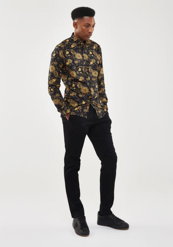 Black and Gold Slim Fit Print