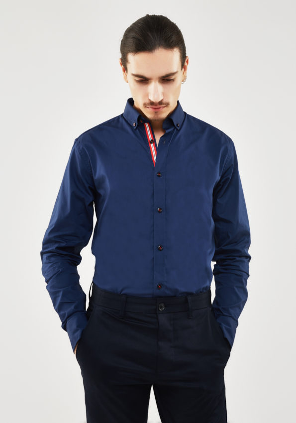 Navy Slim Fit with Red Contrast Tape