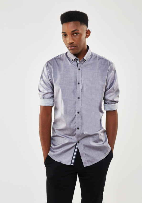 Grey Chambray Slim Fit with Contrast Tape
