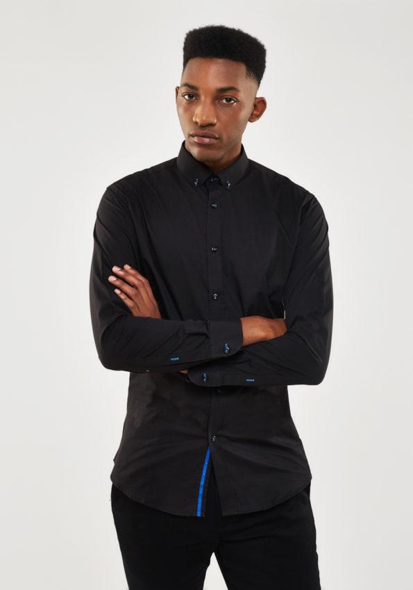 Black Poplin Slim Fit with Royal Blue Contrast
