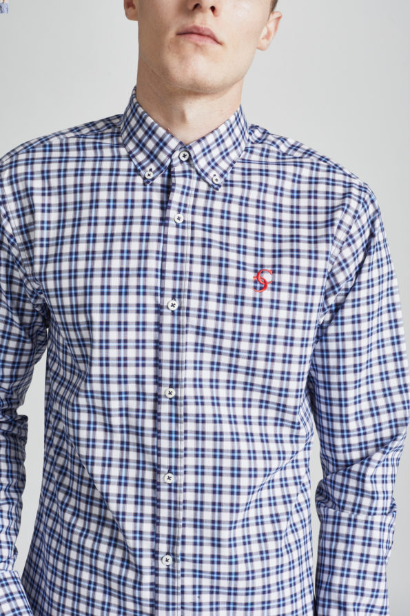 Blue and White Slim Fit Check Shirt