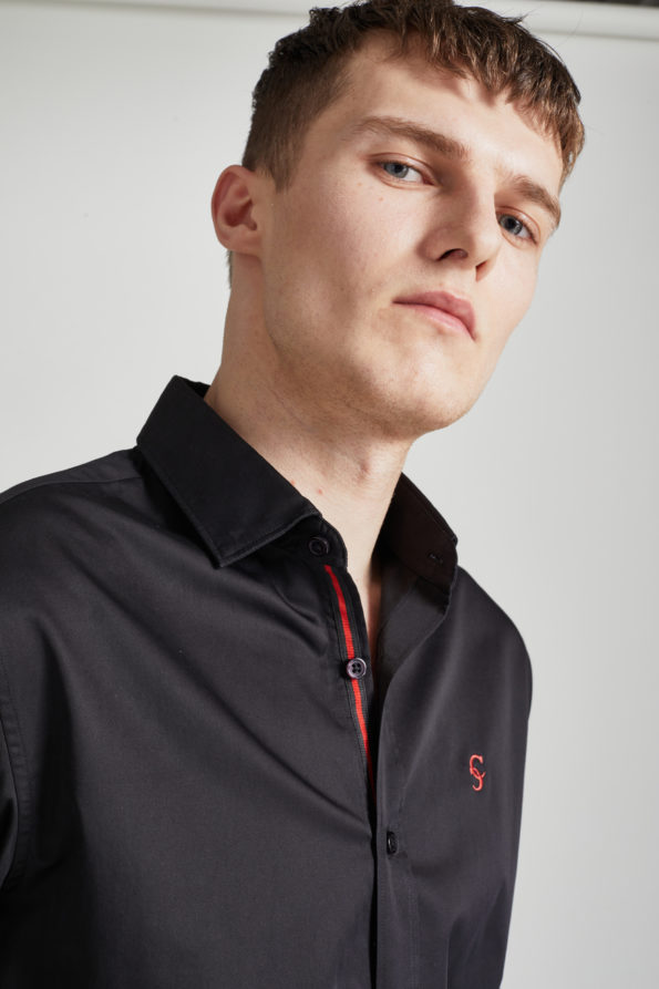 Black Satin Finish Slim Fit Shirt with Contrast Placket