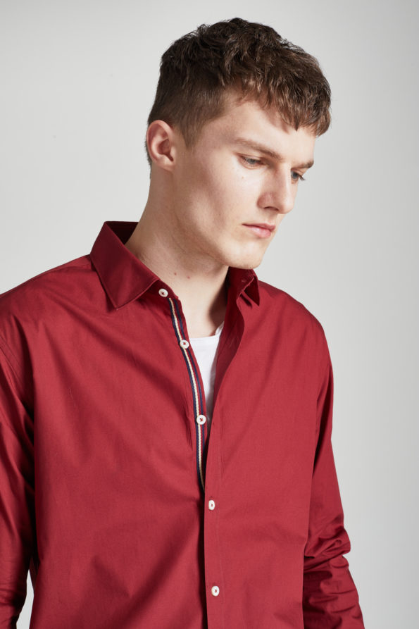 Red Slim Fit Shirt with Contrast Placket