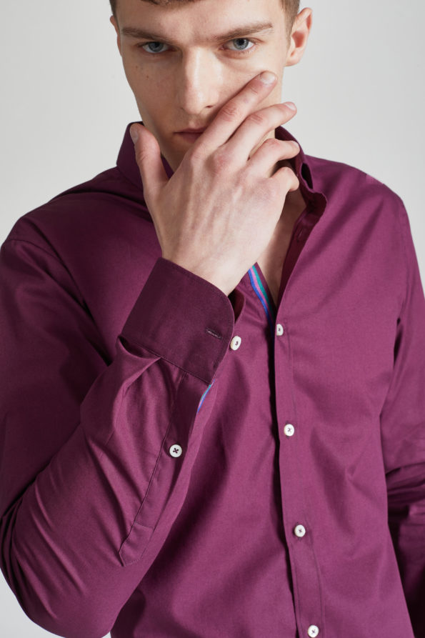 Burgundy Slim Fit Shirt with Contrast Placket