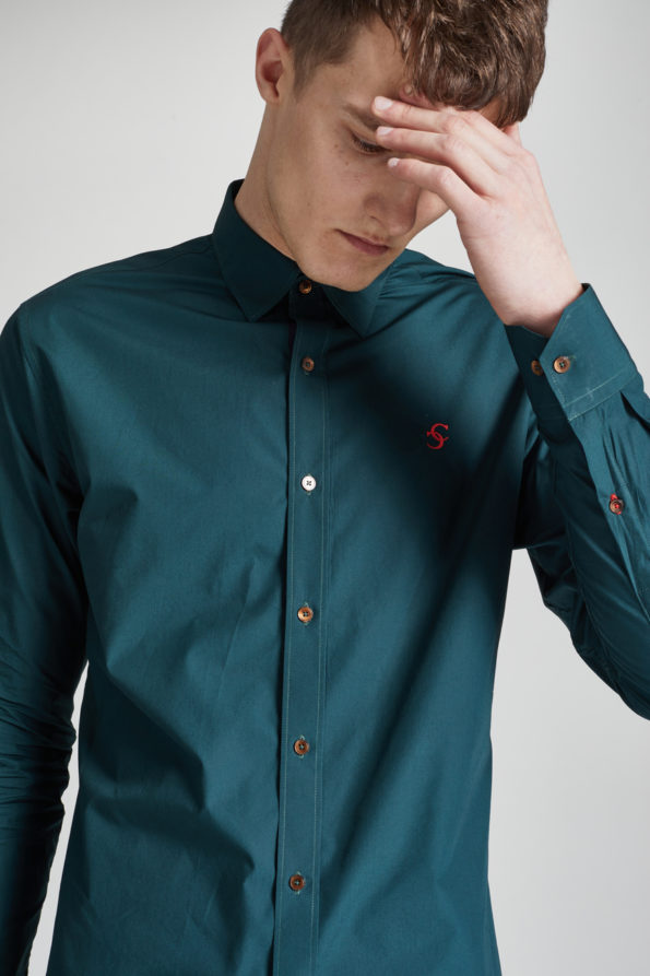 Emerald Green Slim Fit Shirt with Contrast Placket