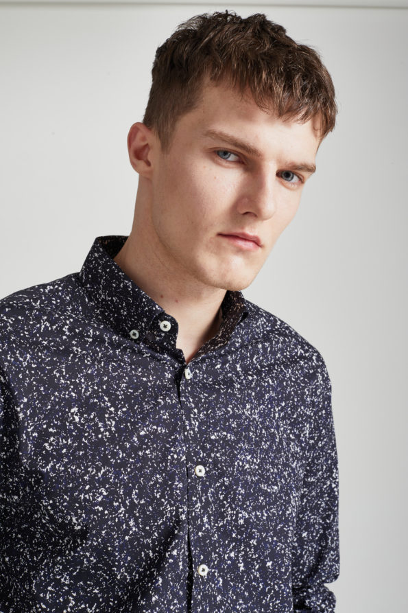 Black and White Slim Fit Printed Shirt