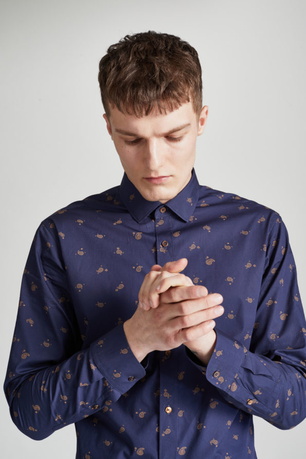 Navy Slim Fit Shirt with Gold Print