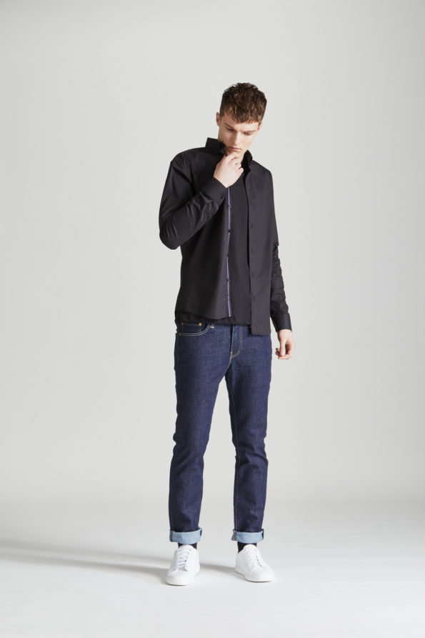 Black Slim Fit Shirt with Contrast Placket