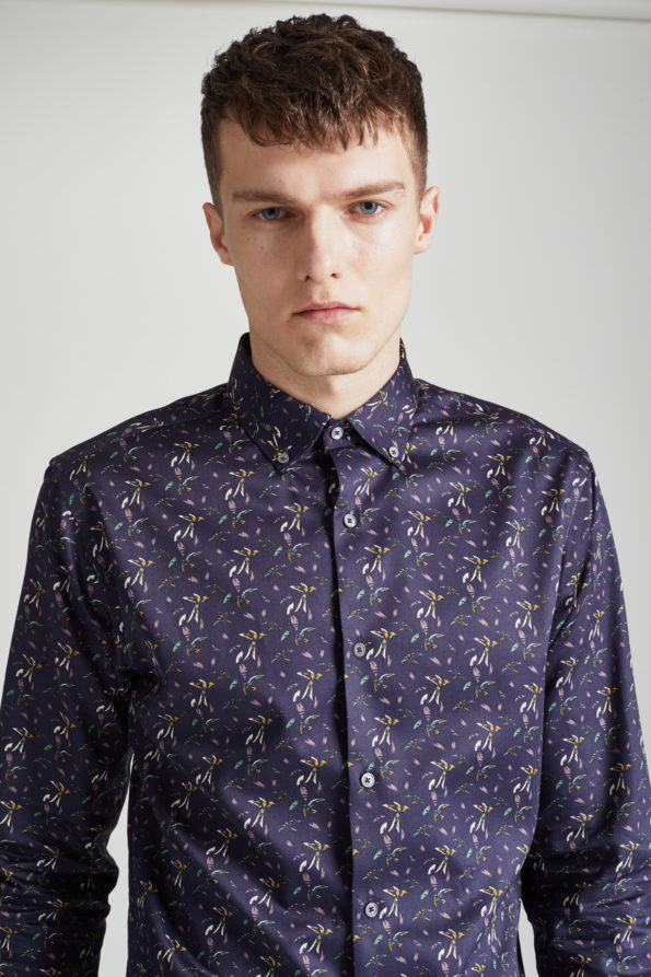 Navy Slim Fit Shirt with Floral Print
