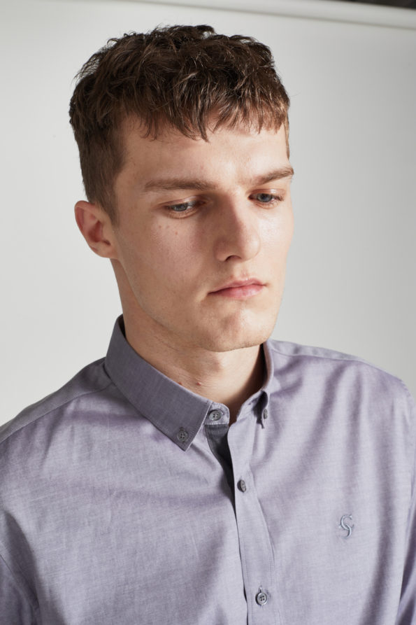 Grey Slim Fit Shirt with Contrast Placket