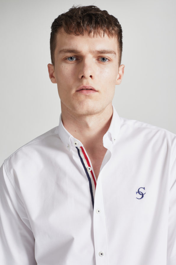 White Slim Fit Shirt with Contrast Placket