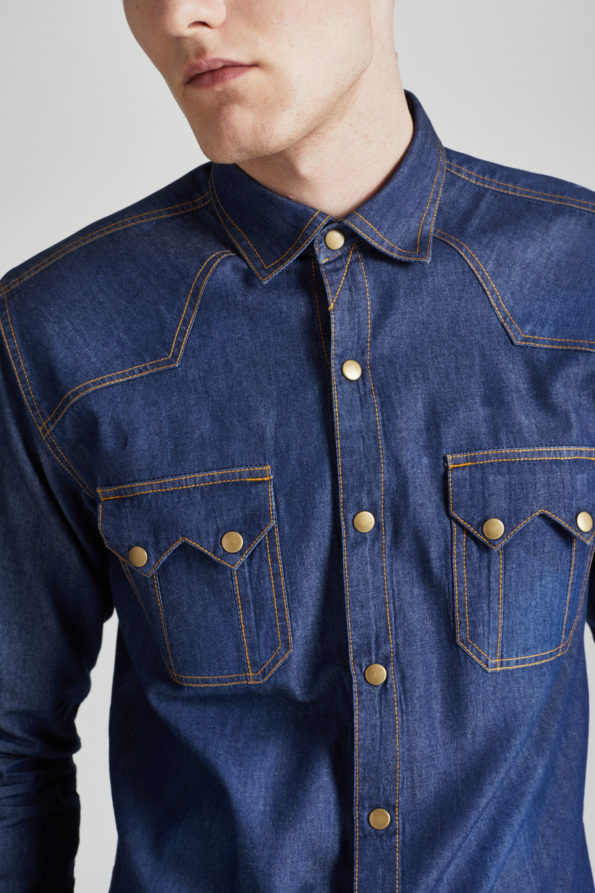 Denim Slim Fit Shirt with Gold Detailing