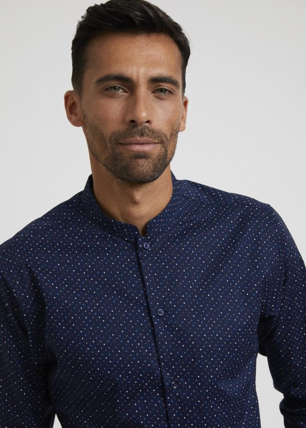 Dark Blue Shirt with Polka Dot Print