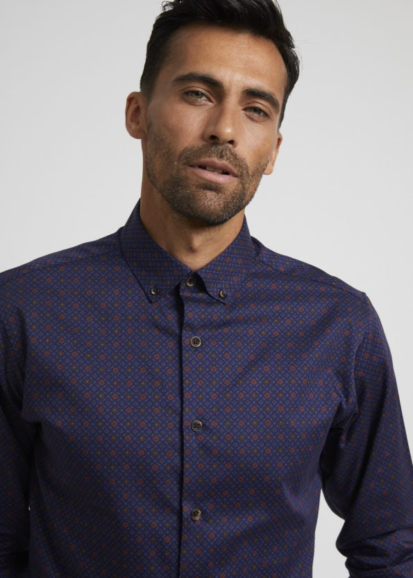 Navy Shirt with Coloured Print