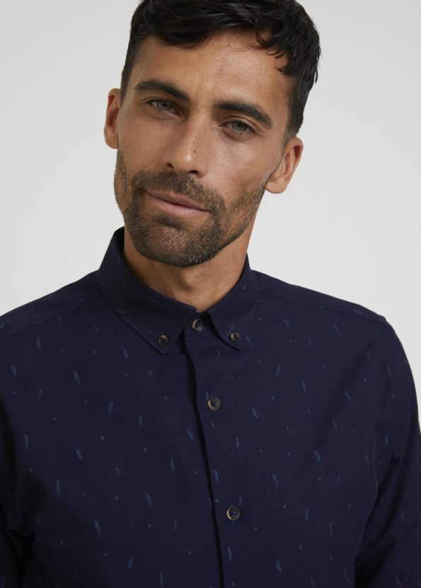 Navy Shirt with Small Leaf Print