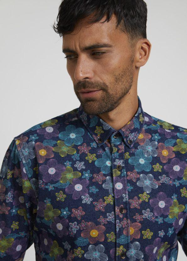Colourful Floral Printed Denim Shirt