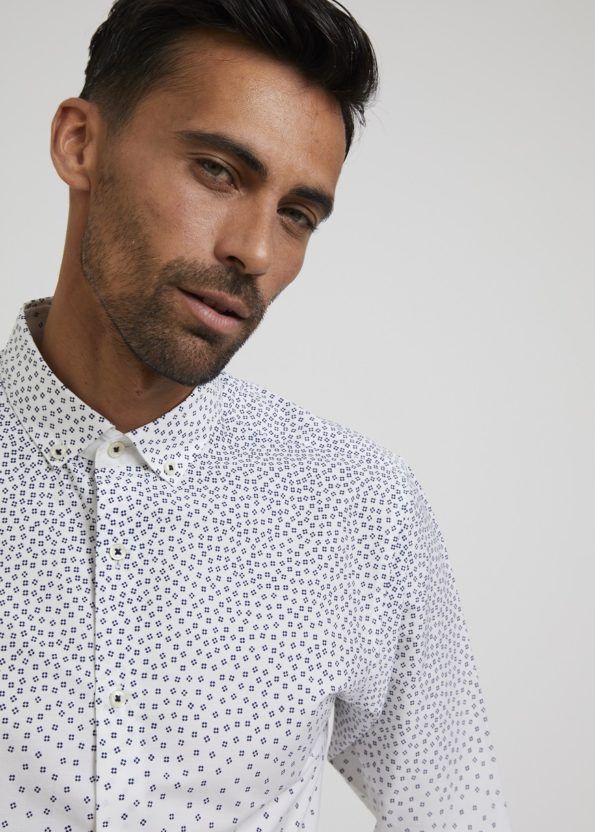 White with Navy Print Shirt